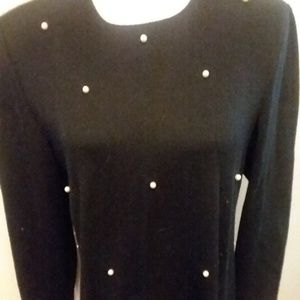 Womens Pearl Studded Knit Dress Leslie Fay 14